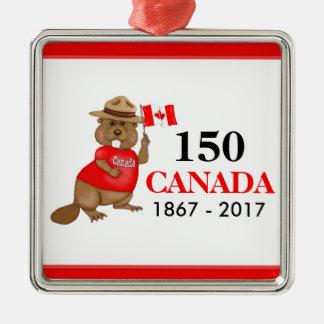 Proudly kanadensisk årsdag för bäver 150 silverfärgad fyrkantigt julgransprydnad