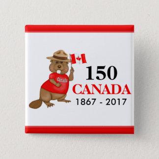 Proudly kanadensisk årsdag för bäver 150 standard kanpp fyrkantig 5.1 cm