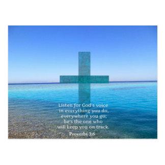 Proverbs som 3:6 lyssnar för gud, uttrycker vykort