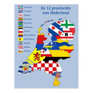 Province flag on Map Holland Vykort