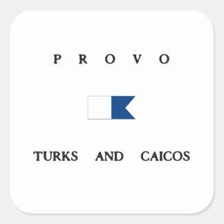 Provo Turks och flagga för Caicos alfabetiskdyk Fyrkantigt Klistermärke
