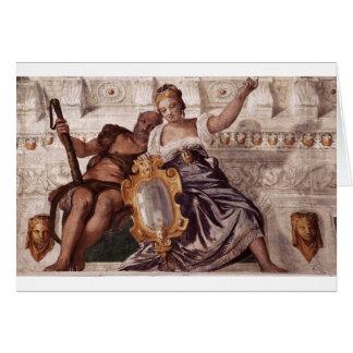 Prudence och Manly förtjänst av Paolo Veronese Hälsningskort
