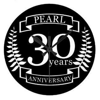 Pryda med pärlor den 30th bröllopsdagen 30 år stor klocka