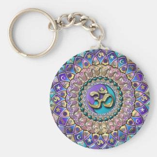 Prydd med ädelsten Astrosymbology Mandala Keychain Rund Nyckelring