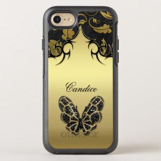 Prydd med ädelsten fjärilsdamast OtterBox symmetry iPhone 7 skal