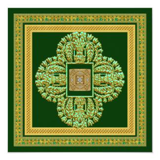 Prydd med ädelsten guld- bröllopsdagpartyinbjudan fyrkantigt 13,3 cm inbjudningskort