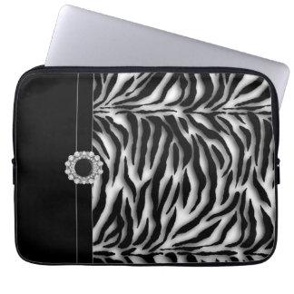 Prydd med ädelsten svart sebralaptop sleeve laptopfodral