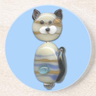 Pryder med pärlor brunt exponeringsglas för blått underlägg sandsten