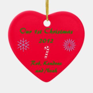 Prydnad 1st för personlighjärtajul julgransprydnad keramik