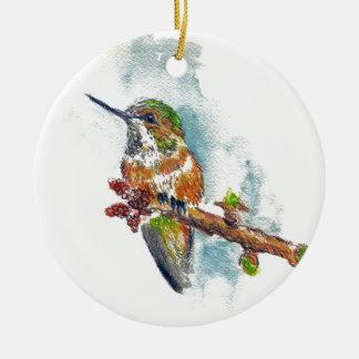 Prydnad - en Hummingbird, vattenfärg ritar Julgransprydnad Keramik