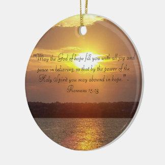 Prydnad för 15:13 för bibelcitationsteckenRomans Rund Julgransprydnad I Keramik