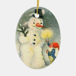 Prydnad för älva- och snögubbevintagejul julgransdekoration