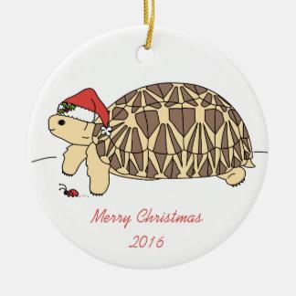 Prydnad för anpassadestjärnasköldpadda rund julgransprydnad i keramik