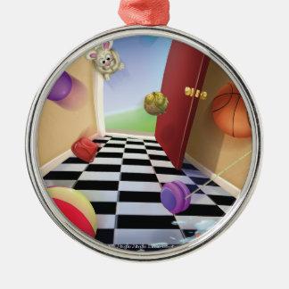 Prydnad för boll för Gnome för klirrklirr lite Rund Silverfärgad Julgransprydnad