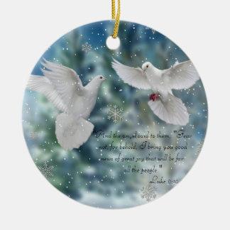 prydnad för duvor för bibelcitationsteckenLuke Julgransprydnad Keramik