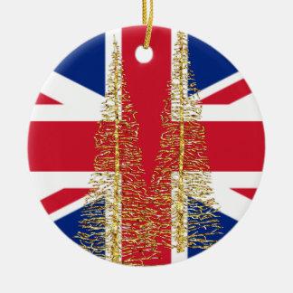 Prydnad för England engelsk brittisk flaggajul Rund Julgransprydnad I Keramik