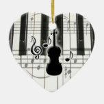 Prydnad för fiol för hjärtapianotangentbord juldekoration