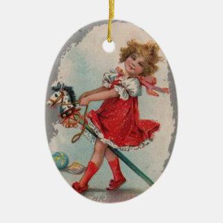 Prydnad för flicka- och ponnyvintagejul julgransdekoration