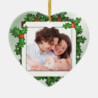 Prydnad för foto för familj för juljärnek hjärtformad julgransprydnad i keramik