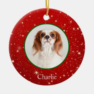 Prydnad för foto för husdjur för personligvalphund julgransprydnad keramik