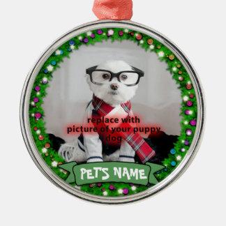 Prydnad för foto för husdjur för personligvalphund julgransprydnad metall