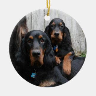 Prydnad för foto för Pals för Gordon Setter Julgransprydnad Keramik
