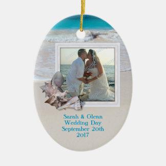 Prydnad för foto för strandbröllopminnessak ovalformad julgransprydnad i keramik
