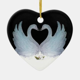 Prydnad för Hart för Valuegem kärleksvanar Julgransprydnad Keramik