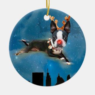 Prydnad för helgdag för Boston TerrierMirabelle Rund Julgransprydnad I Keramik