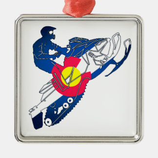 Prydnad för helgdag för Colorado flaggasnowmobile Julgransprydnad Metall