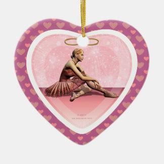 Prydnad för hjärta för Ballerinaflickagod jul Julgransprydnad Keramik