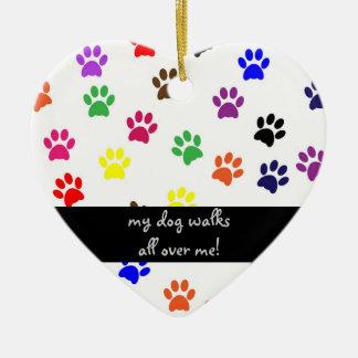 Prydnad för hjärta för husdjur för tasstryckhund julgransprydnad keramik