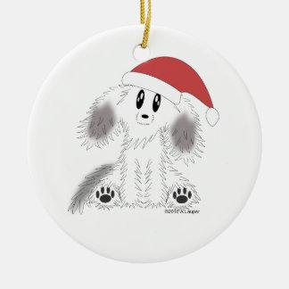Prydnad för hund för julSanta Scruffy valp Rund Julgransprydnad I Keramik