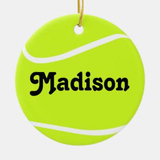 Prydnad för jul för anpassadetennisboll rund julgransprydnad i keramik