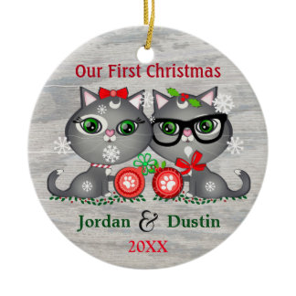 Prydnad för jul för beställnings- lantliga rund julgransprydnad i keramik