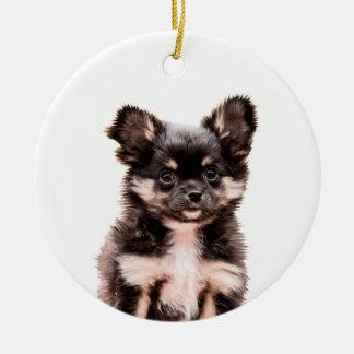 Prydnad för jul för Chihuahuavalphund keramisk Rund Julgransprydnad I Keramik