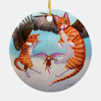 Prydnad för jul för för ängelkatt och mus modig rund julgransprydnad i keramik
