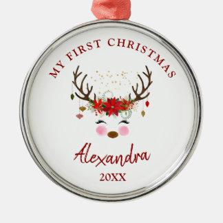 Prydnad för jul för gullig renbaby 1st julgransprydnad metall