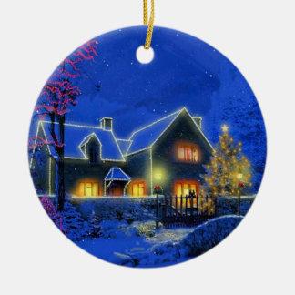 Prydnad för jul för julLite hus Julgransprydnad Keramik