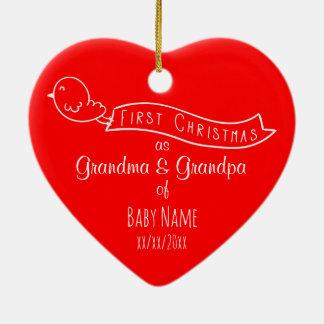 Prydnad för jul för personligmorföräldrar första julgransprydnad keramik