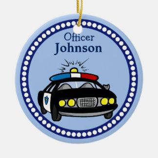 Prydnad för jul för personligpolisbil rund julgransprydnad i keramik