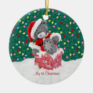 Prydnad för jul för Santa nalle 1st Rund Julgransprydnad I Keramik