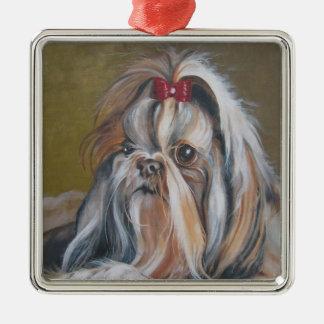 Prydnad för jul för Shih Tzu hundmålning Julgransprydnad Metall