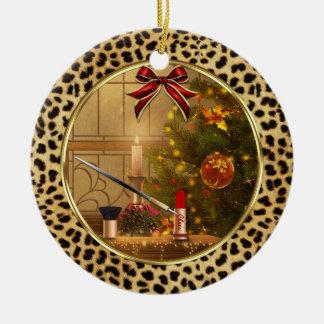 Prydnad för jul för tryck för MakeupCheetah djur Rund Julgransprydnad I Keramik