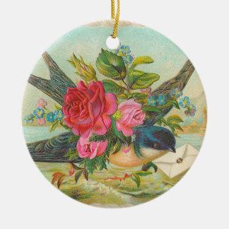 Prydnad för jul för Victorianblåttfågel Julgransprydnad Keramik