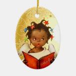Prydnad för jul för vintageafrikansk amerikanängel julgranskula
