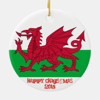 Prydnad för jul för Wales walesisk drakeflagga Rund Julgransprydnad I Keramik