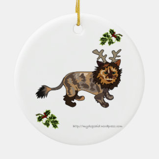 Prydnad för katt för renkattungetecknad rund julgransprydnad i keramik