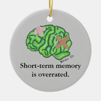 """Prydnad """"för kortfristigt minne"""" julgransprydnad keramik"""
