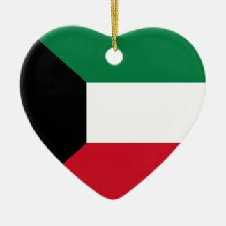 Prydnad för Kuwait flaggahjärta Julgransprydnad Keramik